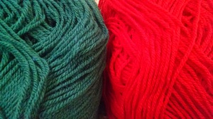 turquoise red wool