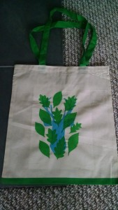Screen-printed tote bag with stag and leaf design