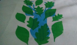 screen printed stag and leaves design
