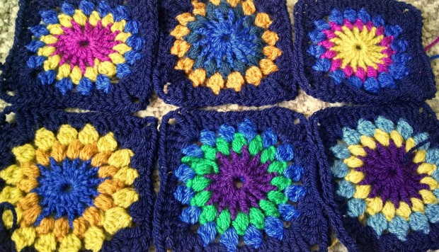 completed granny squares for sunburst blanket