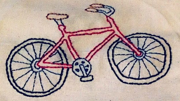 backstitched embroidered bike