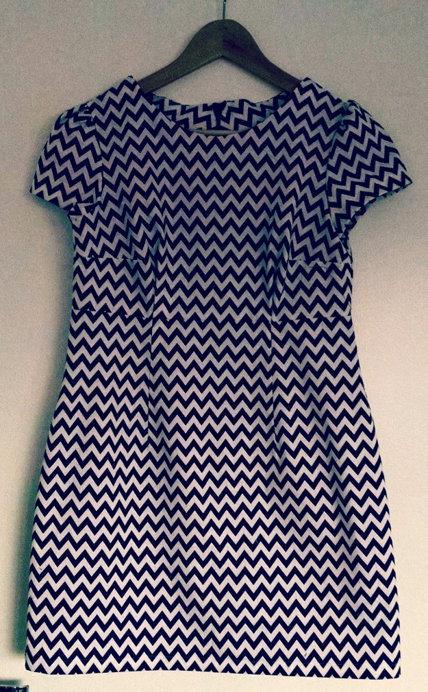 Megan dress in fun blue and white chevron print
