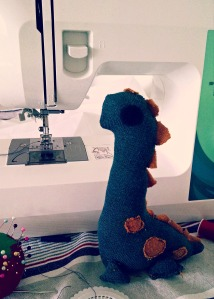 Mr. Dinosaur on guard at my sewing machine