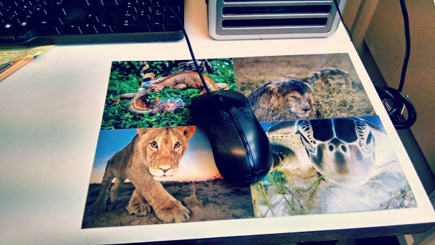 mousemat made from postcards by hshandcrafts