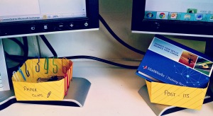 origami baskets for paperclips and post its