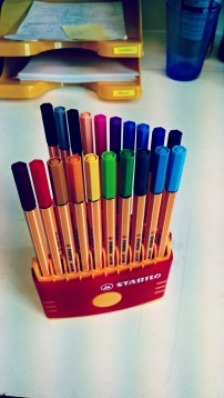 I couldnt survive without coloured pens!