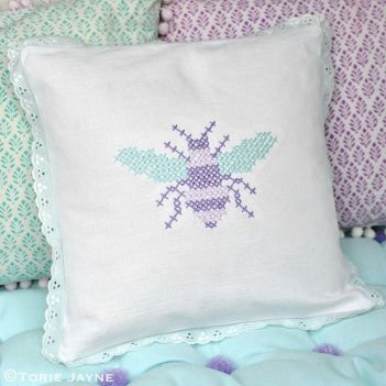 Cross stitch bee cushion