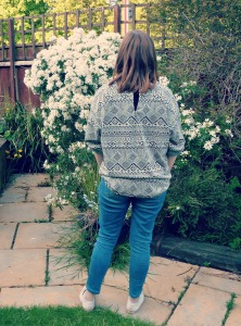 oversized sweater back view